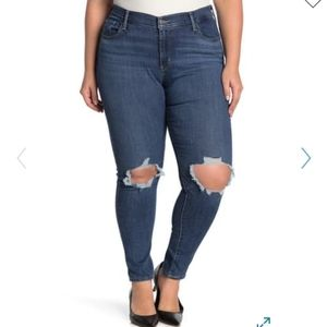 Levi's 711 High Waisted Ripped Skinny Jeans plus